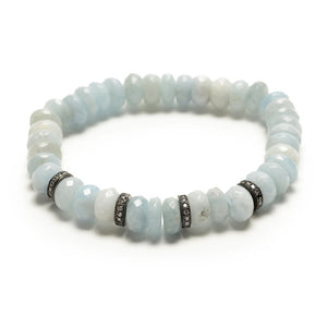 Aquamarine Crystal Section Bracelet