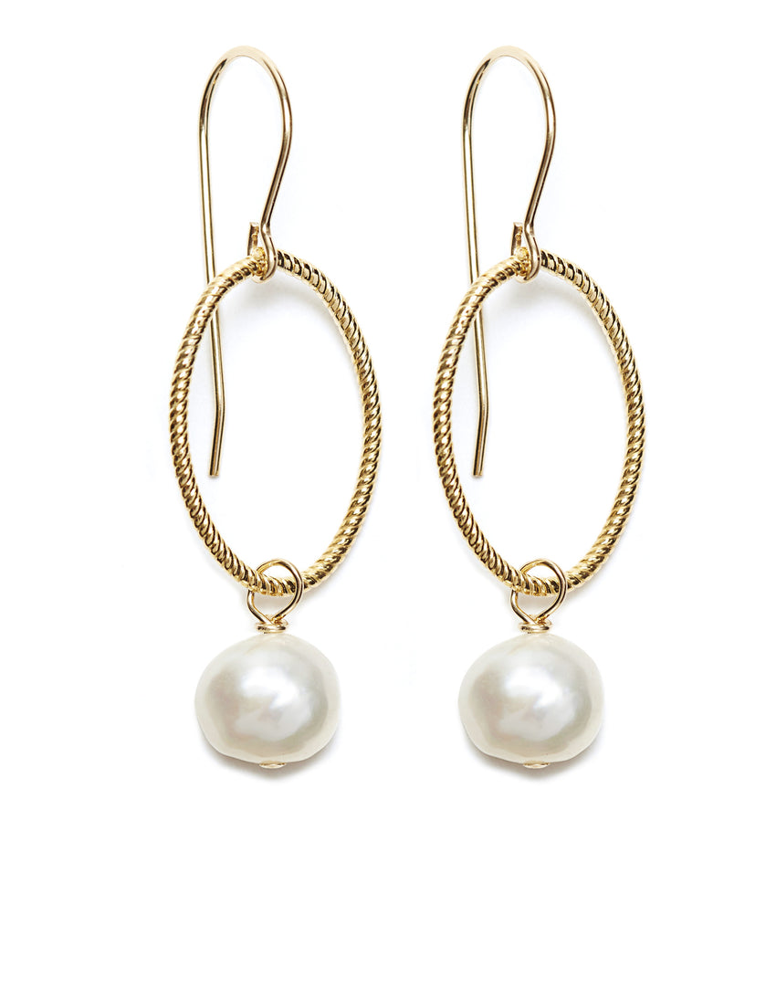 Gold Hoop/White Pearl Drop Earrings