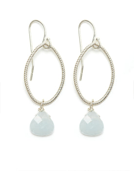 Silver Hoop/Aquamarine Drop Earrings