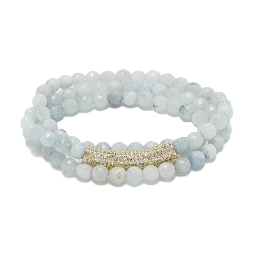 Aquamarine/Gold/Crystal Bar Bracelet