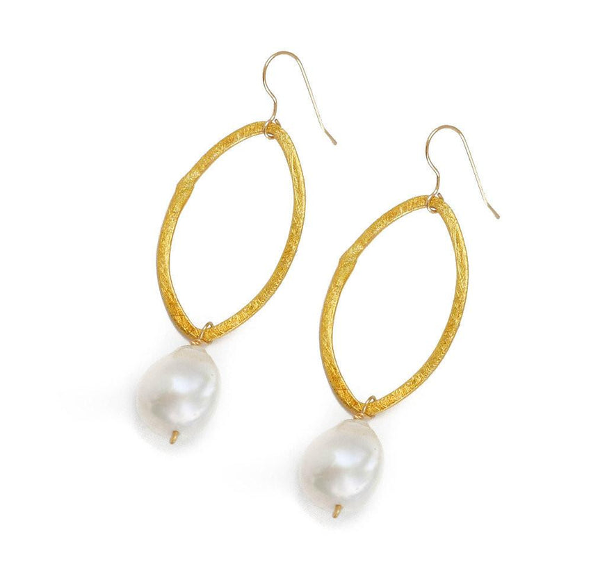 Earrings Gold Circle and Pearl Drop