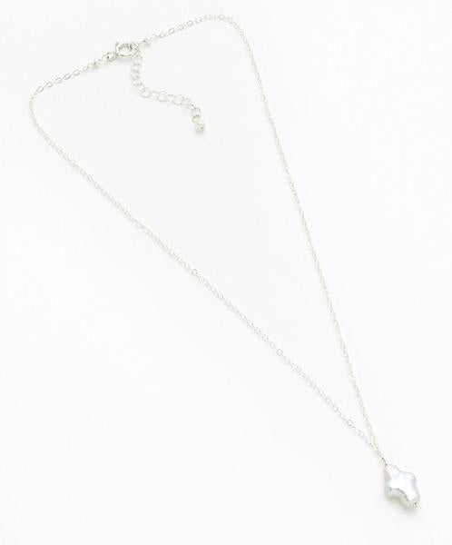 Gold or Silver Necklace with Pearl Cross Drop