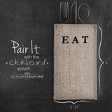 "Silverware Pouch ""Eat"" Set of 8"
