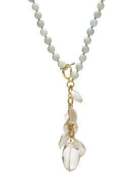 Pearl & Crystal Aquamarine Drop Necklace