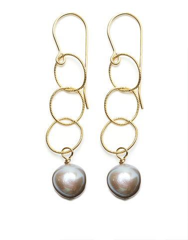 Triple Gold Hoop/Grey Pearl Earrings