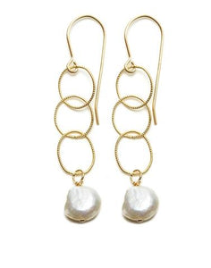 Triple Gold Hoop/White Pearl Earrings
