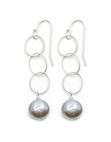 Triple Silver Hoop/Grey Pearl Earrings