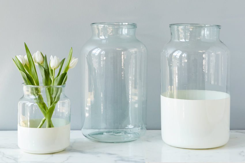 Colorblock Mason Jar - White - 3 Sizes