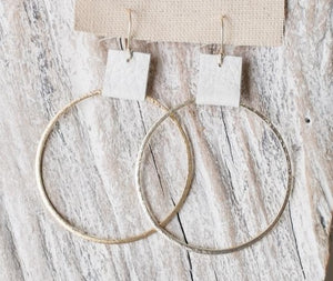 Brushed Gold Hoops w/ Stone Leather Accent 2.4