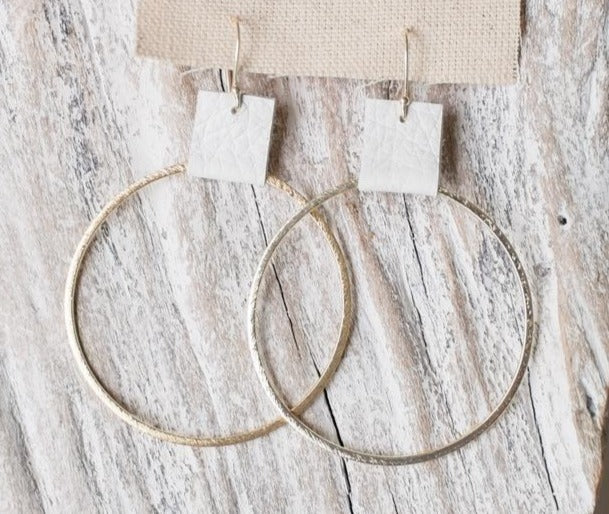 Brushed Gold Hoops w/ Stone Leather Accent 2.4""