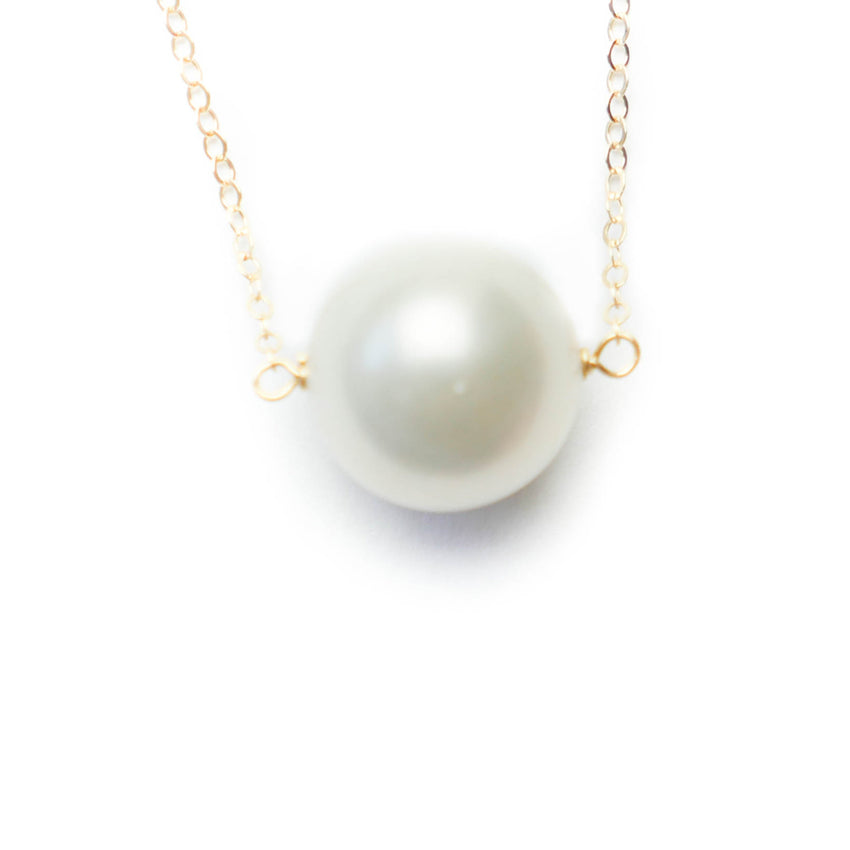 White Pearl on Silver or Gold Chain Necklace