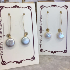 Long Wire Earrings with Coin Pearl Drop