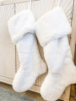 White Faux Fur Stocking Lg