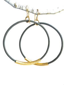 Leather Hoop Earrings - Assorted Neutrals