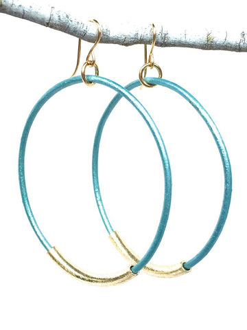 Leather Hoop Earrings - Assorted Blues
