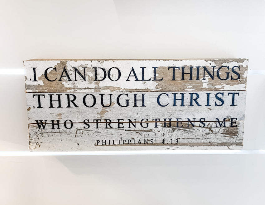 "Word Board ""I can do all things..."" 14x6"