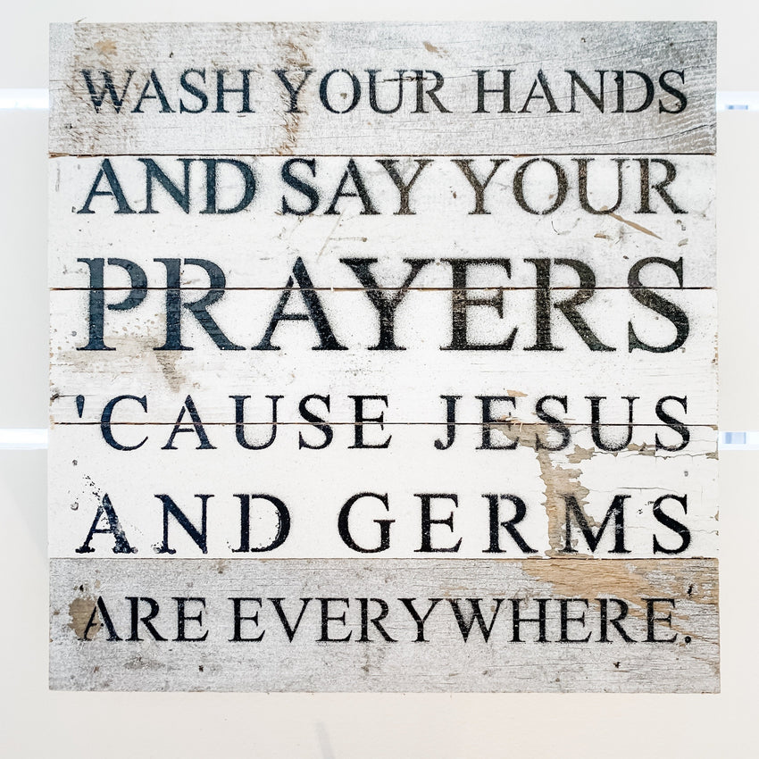 "Word Board ""Jesus and Germs"" 10x10"""