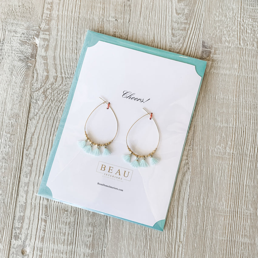 Earring Greeting - Gold Teardrop with Blue or Beige Tassels