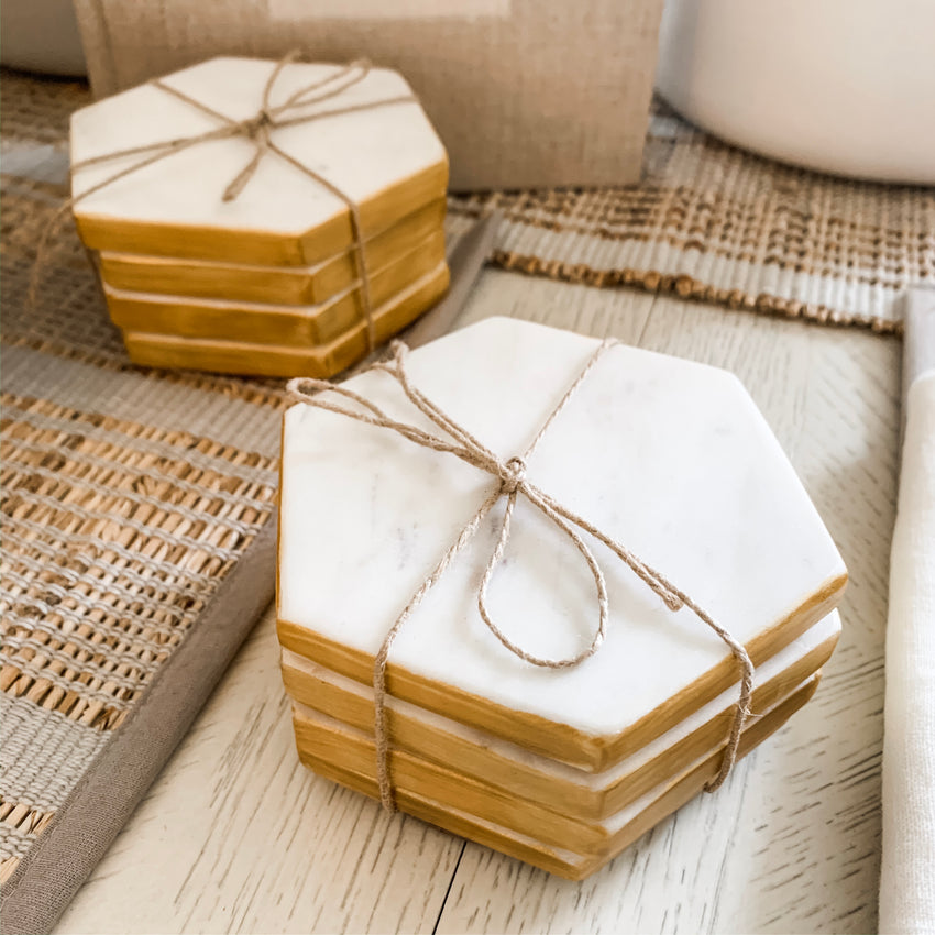 Marble Set of 4 Hexagon Coasters