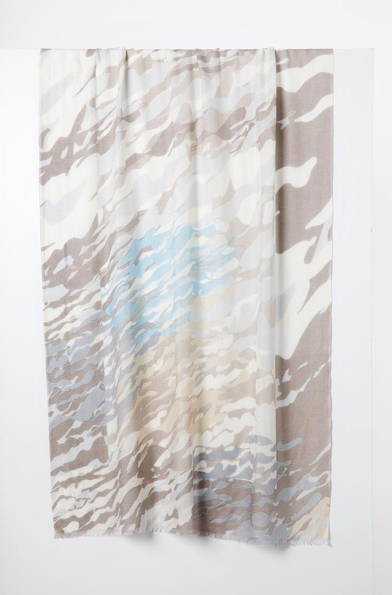Cashmere and Silk Scarf - Desert Camo Surf