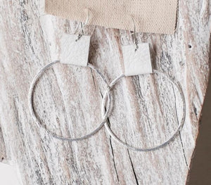 Earrings Brushed Silver Hoops w/ Stone Leather Accent 1.9