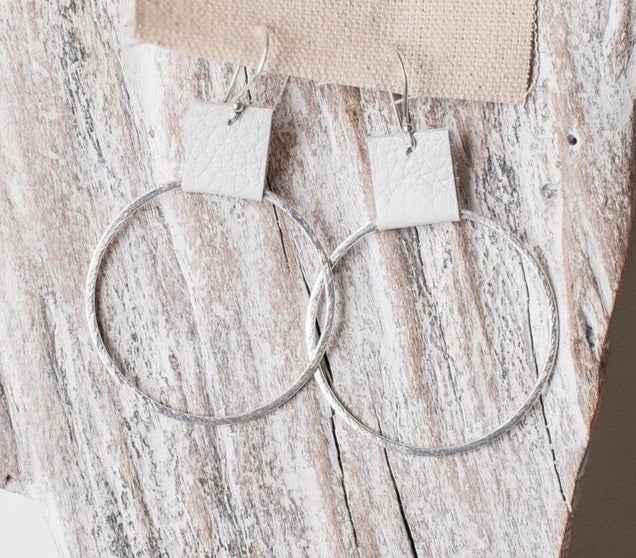 Earrings Brushed Silver Hoops w/ Stone Leather Accent 1.9""