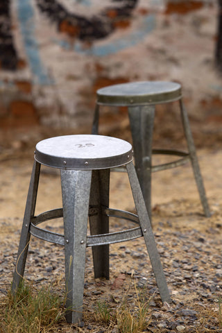 Numbered Galvanized Stool