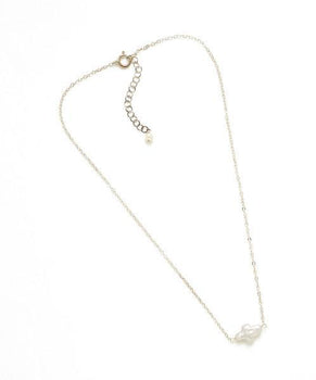 Short Silver or Gold Pearl Cross Necklace