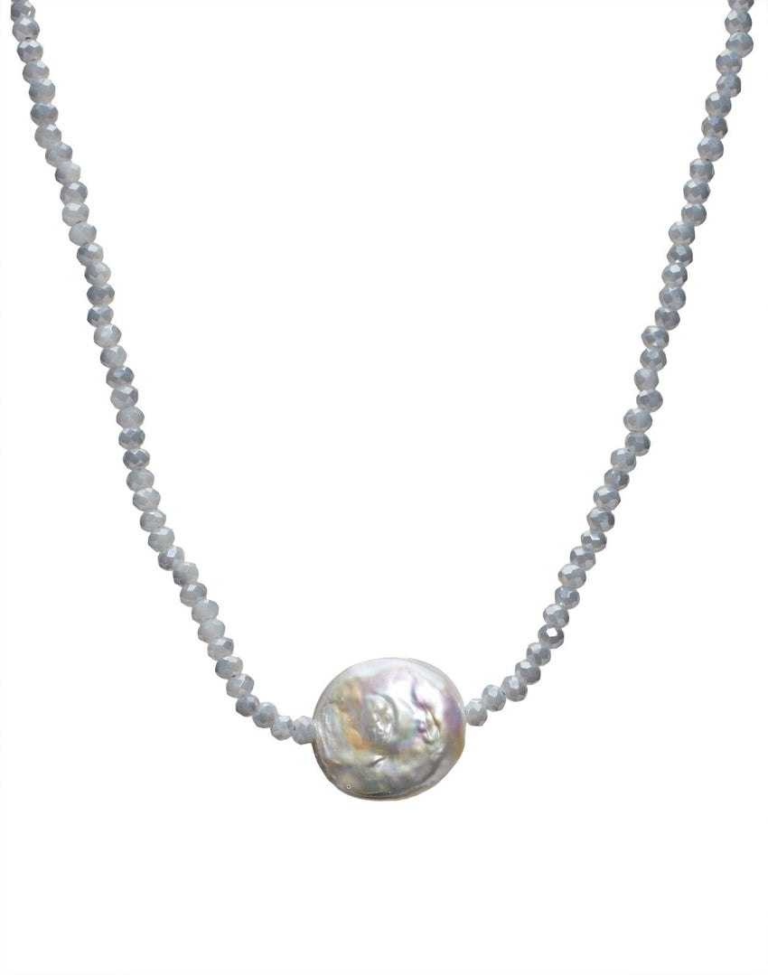 Aqua Crystal/White Coin Pearl Necklace