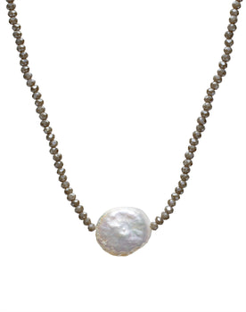 Grey Crystal/White Coin Pearl Necklace