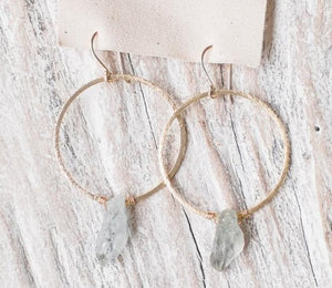 Earrings Brushed Gold Hoops w/ Kyanite Stone Drops