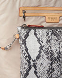 MZ Wallace Small Sutton Bag Grey Snake