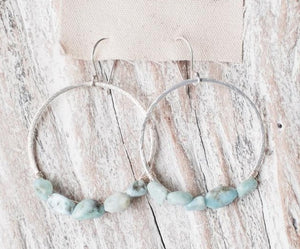 Earrings Brushed Gold Hoops w/ Larimar Bead Accents