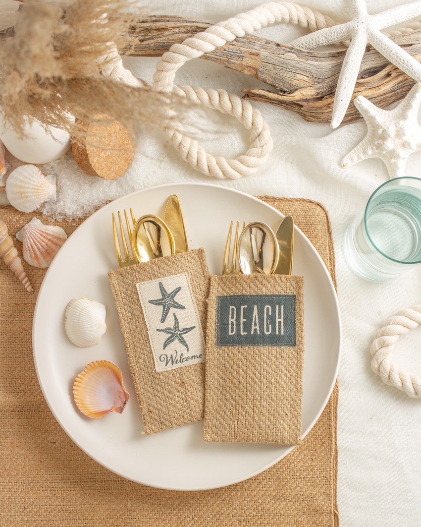 Silverware Pouch Coastal Welcome Set of 8