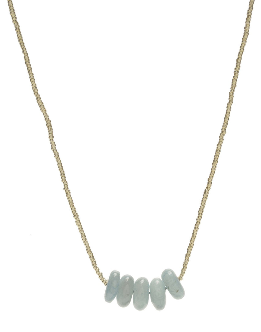 Beaded Necklace with Stacked Aquamarine Barrel Beads