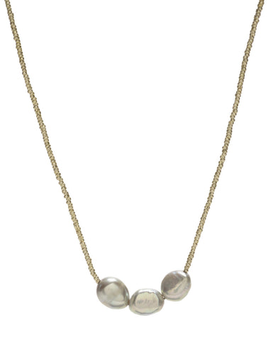 Gold Bead/Triple Grey Pearl Necklace