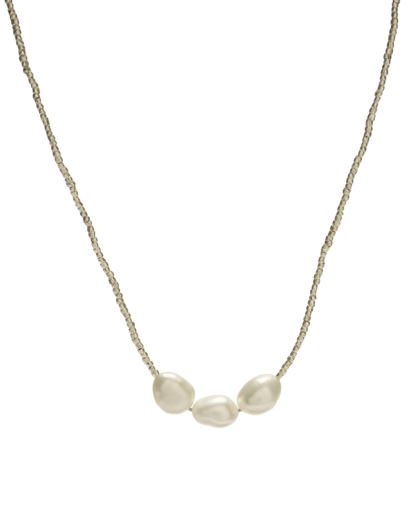 Gold Bead/Triple White Pearl Necklace