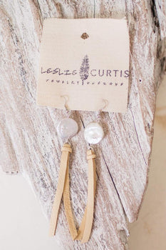 Earrings Pearl and Sand Deerskin Tassel