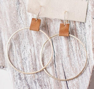 Brushed Gold Hoops w/ Saddle Leather Accent 2.4