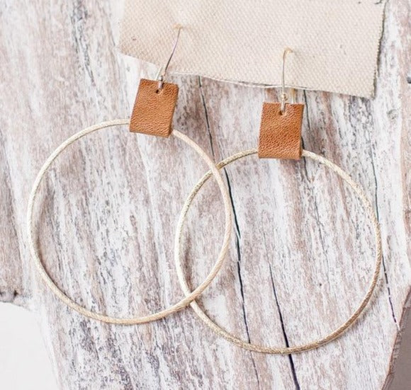 Brushed Gold Hoops w/ Saddle Leather Accent 2.4""