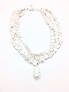 Three Layer White Pearl Necklace