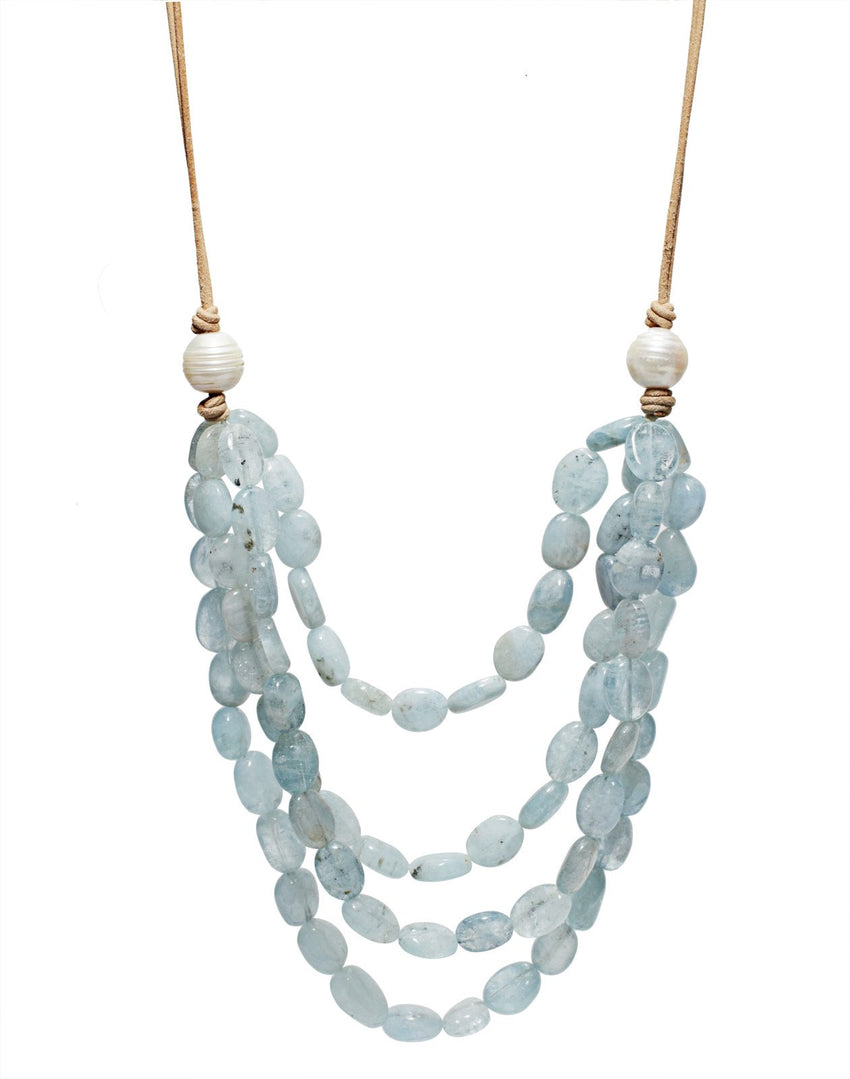 Four Layer Aquamarine/Natural Leather Necklace