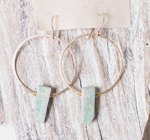 Earrings Brushed Gold Hoops w/ Amazonite Drop
