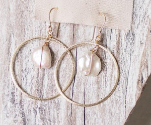 Earrings Brushed Gold Hoop with Pearl Drop