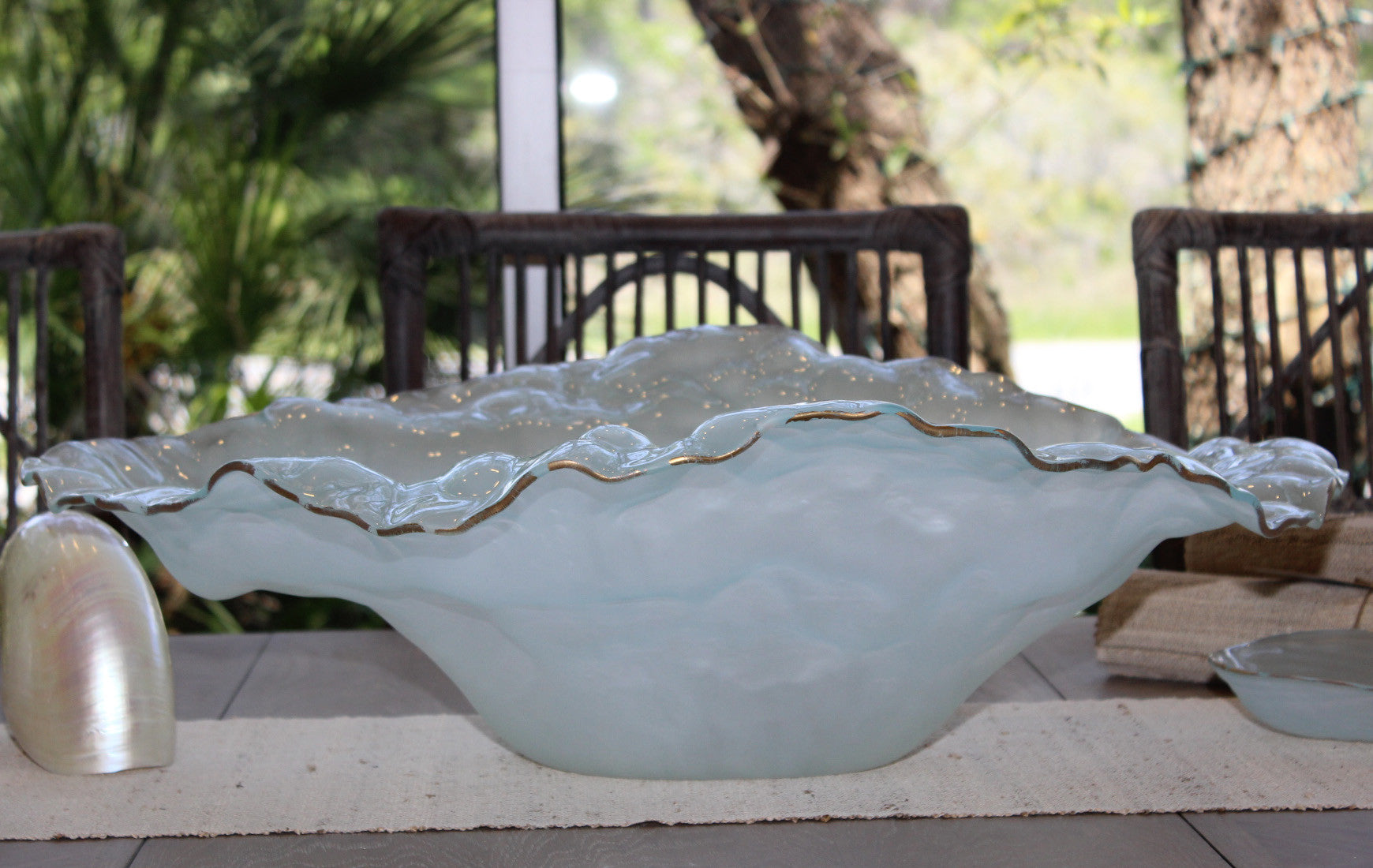 Annieglass Frosted Water Sculpture Bowl