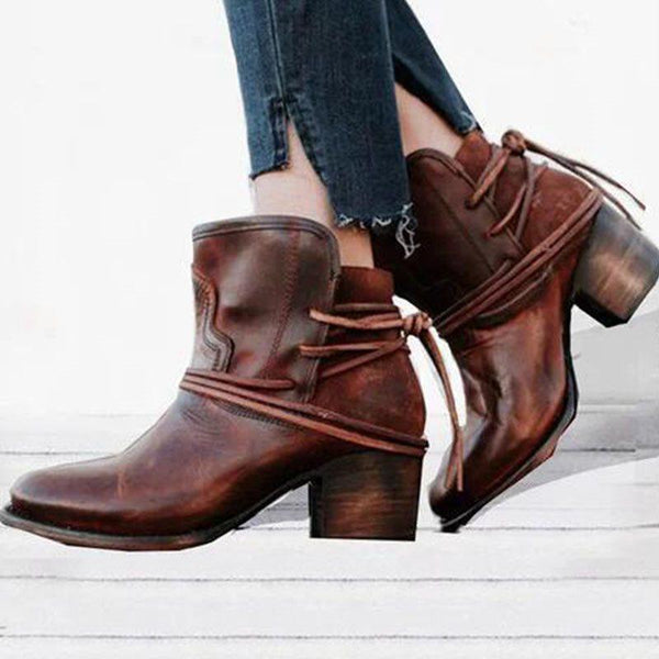Lace-Up Back Plain Round Toe Thread PU Boots
