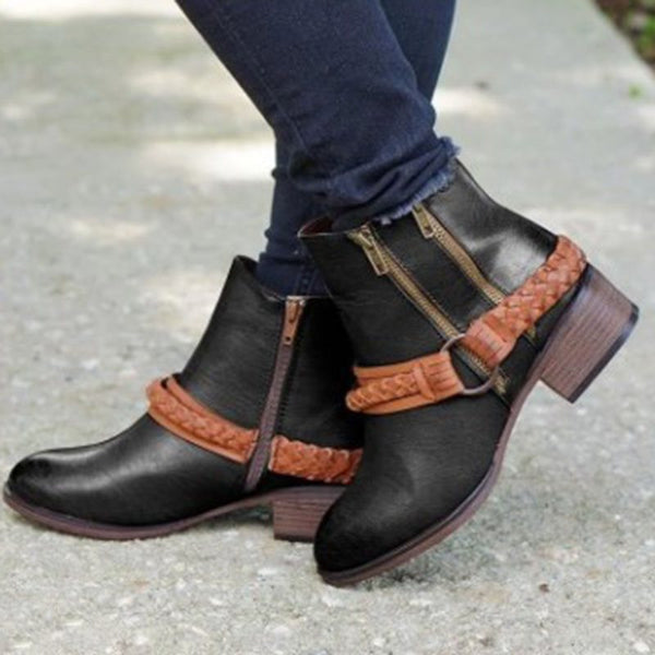 Color Block Side Zipper Round Toe PU Zipper Boots