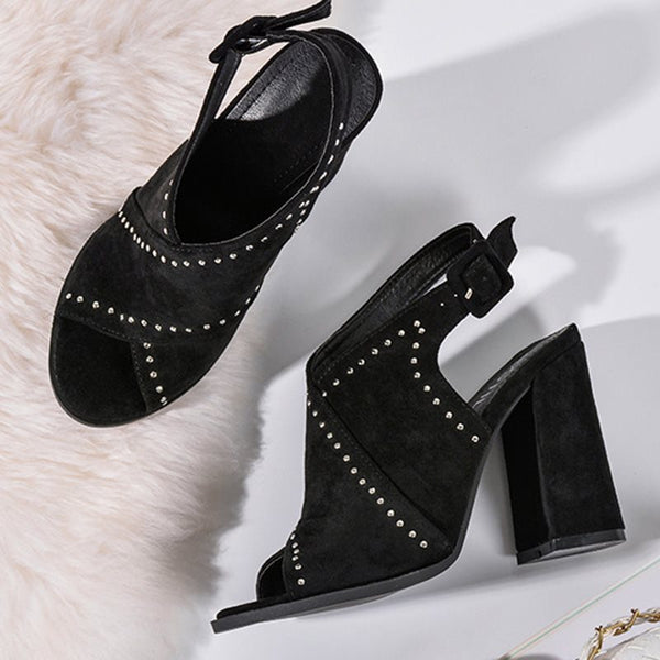 Slingback Strap Peep Toe Chunky Heel Buckle Sequin Professional Sandals