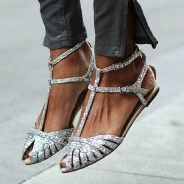 Buckle Pointed Toe Buckle Casual Sandals