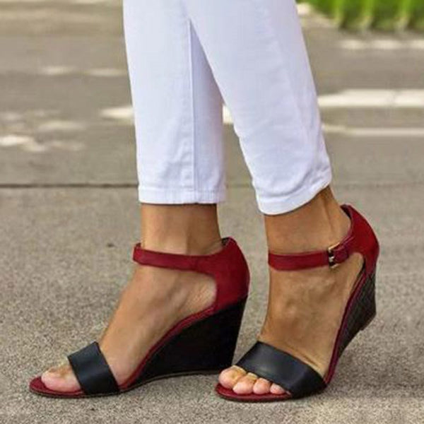 Wedge Heel Buckle Heel Covering Open Toe Color Block Buckle Sandals